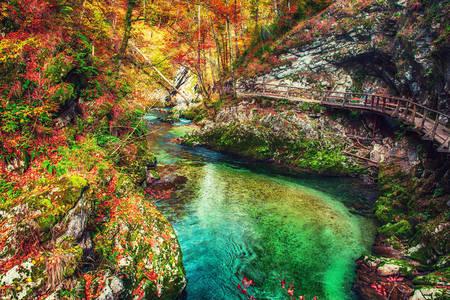 Jesenný pohľad na roklinu Vintgar