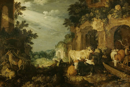 "Roelant Savery: ""Landscape with ruins, cattle and deer"""