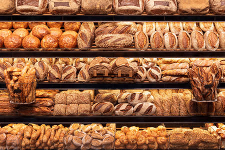 Variety of bread at the bakery