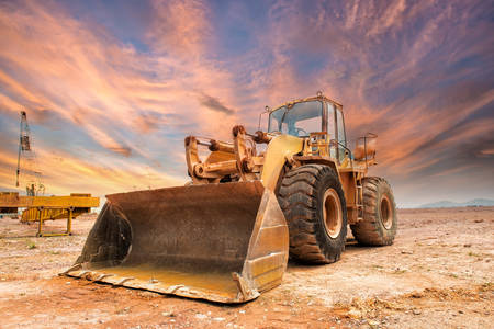 Bulldozer sur un chantier de construction