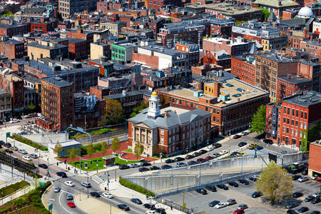 View of the North End area in Boston