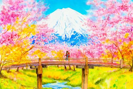 Sakura at Mount Fuji