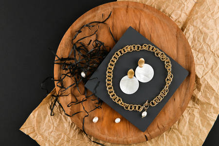 Gold earrings with necklace