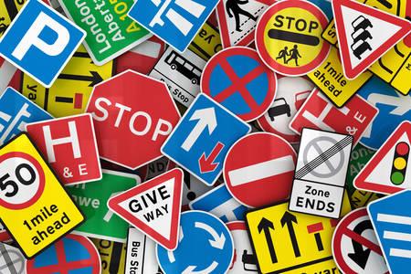 Grande coleção de sinais de trânsito