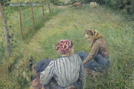 """Camille Pissarro: """"Giovani contadine riposano nei campi vicino a Pontoise"""""""