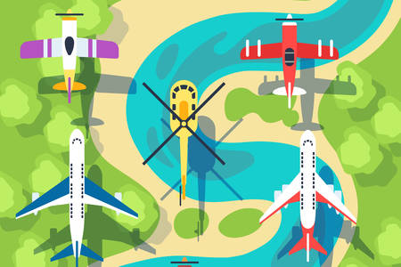 Helicopter and planes in flight