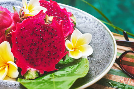 Red pitahaya on a platter