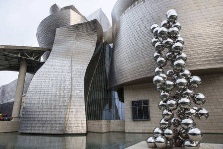 Sculpture at the entrance to the Guggenheim Museum