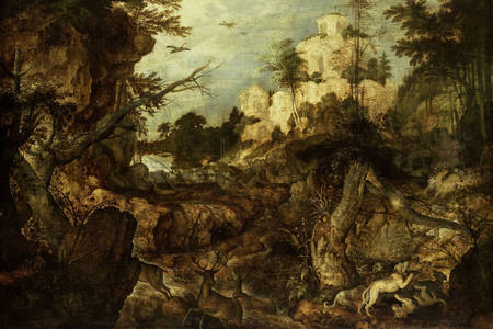 Roelant Saverei: Rocky landscape with wild boar hunting