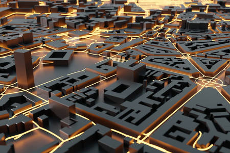 3D abstraction: Glowing city