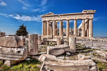 Vista del templo del Partenón