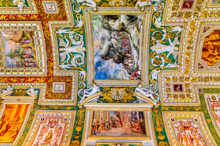 Paintings on the ceiling in the Vatican Museum