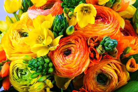 Bouquet with yellow-orange ranunculus