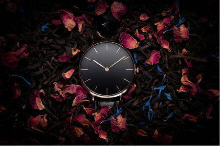 Clock on the background of dry petals