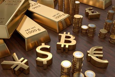 Goldbarren und Währungssymbole