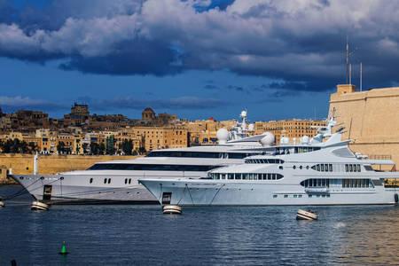 Yachts in the harbor in Malta