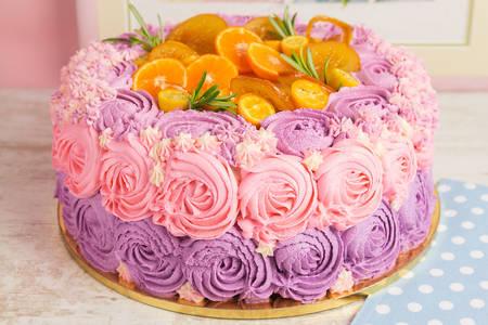 Cake with cream and oranges