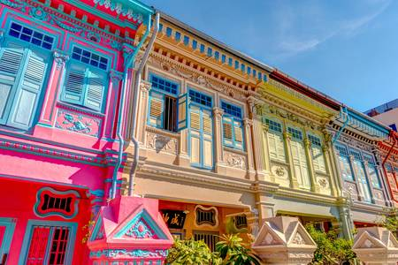 Colorful house facades