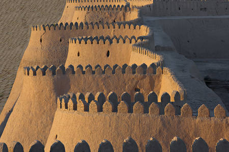 The city walls of the ancient city of Khiva