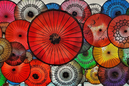 Parapluies au Myanmar