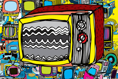 Graffiti con TV vintage