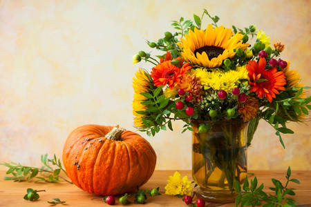 Bouquet with sunflowers and pumpkin