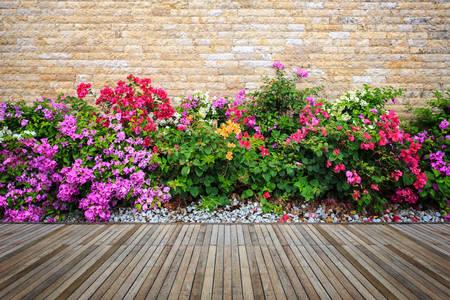 Cvijeće uz zid od opeke