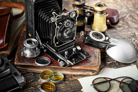 Vintage składany aparat
