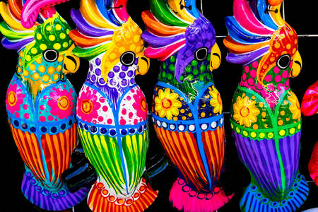 Colorful ceramic parrots
