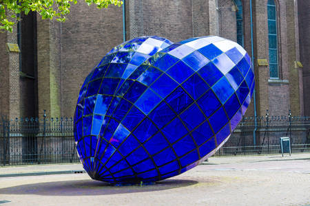 Blue heart sculpture