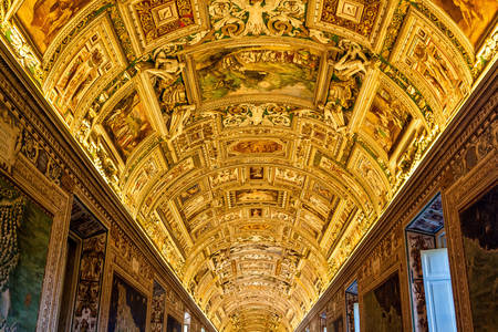 Gallery ceiling in the Vatican Museum