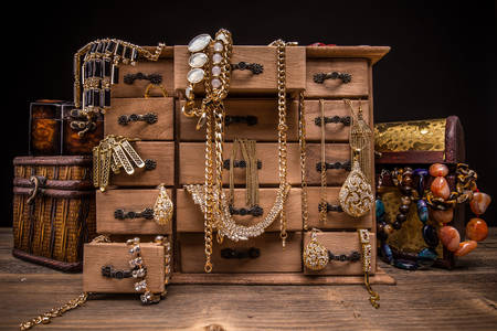 Jewelry in vintage jewelry boxes