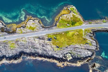 Top view of the Atlantic road