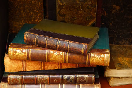 Antique books on the shelf