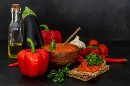 Aivar caviar and vegetables