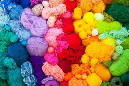 Multi-colored balls of yarn