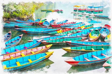 Colorful boats on the lake