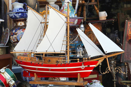 Old wooden sailboat model
