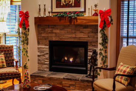 Fireplace decor for Christmas