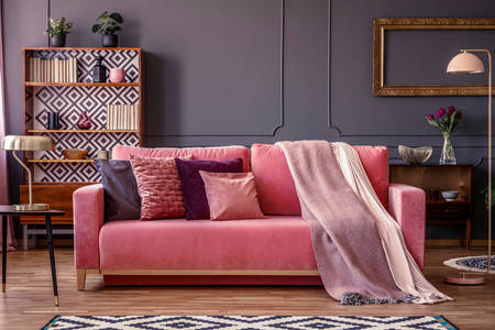 Gray living room with pink sofa