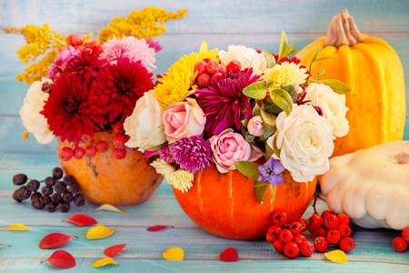 Flowers in a pumpkin