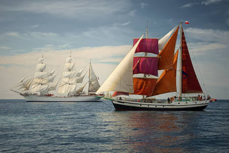 Large sailing ships regatta