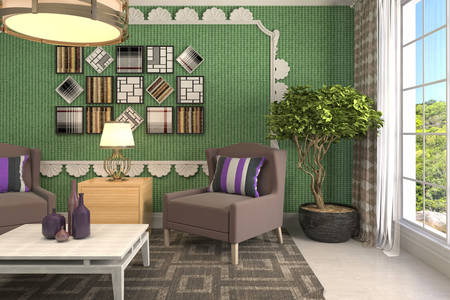 Living room in gray-green tones