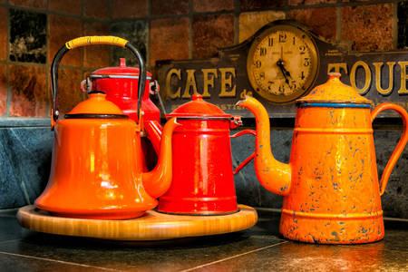 Vintage orange teapots