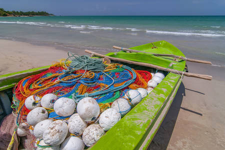 Fishing boat on the beach in Trincomalee