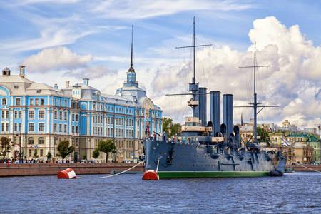 """The cruiser """"Aurora"""" in St. Petersburg"""