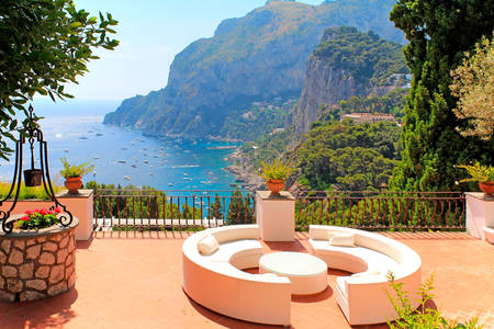 View from the balcony on the island of Capri