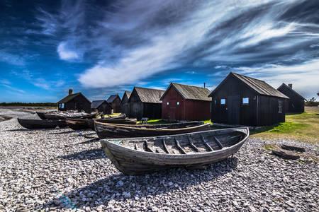 Barche da pesca sulla costa di Forø