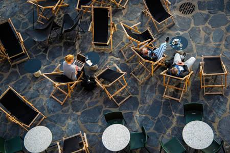 Top view of a cafe terrace in Helsinki