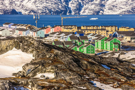 Nuuk town with colorful houses